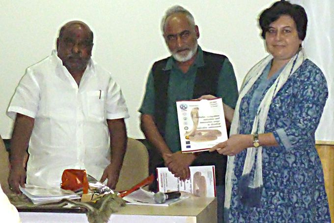 Dr Anita Malhotra receiving the first copies of the conference proceedings from Sri Jogu Ramanna, the Telangana Minister for Forests and Backward Classes Welfare and the Director of the Centre for Cellular and Molecular Biology, which hosted the event)