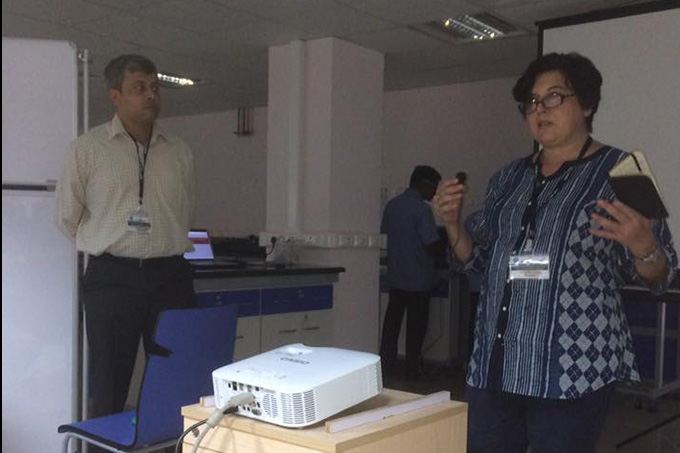 Dr Anita Malhotra introducing the aims of the workshop, with co-organiser Dr Karthikeyan Vasudevan of CCMB